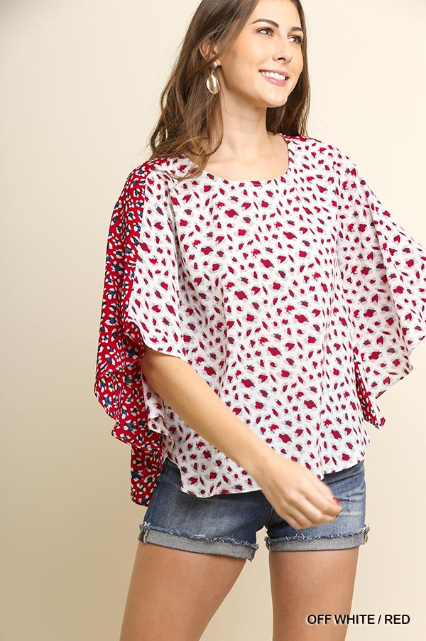 Two-Toned | Leopard Print Angel Sleeve Top