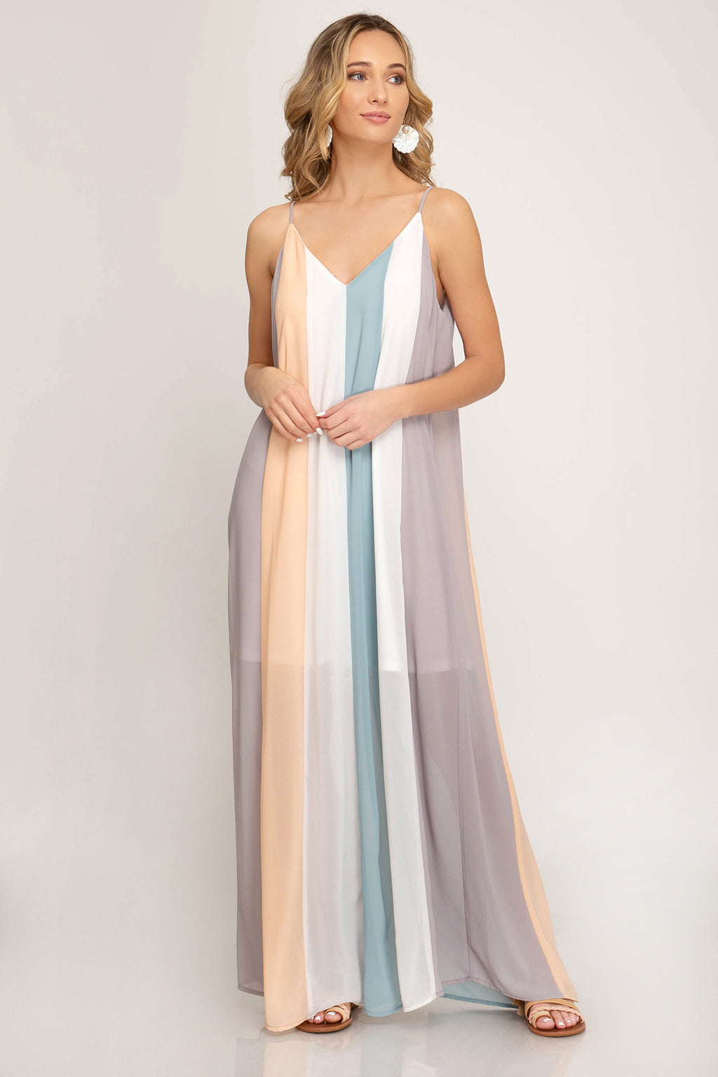 Grey + Peach + Blue | Color Block Maxi Dress