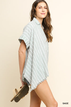 Sage + White | Striped V-Neck Cuffed Sleeve + Frayed Sharkbite Hem