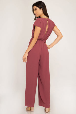 Mauve / Pink | Short Sleeve Woven Jumpsuit with Tie Front