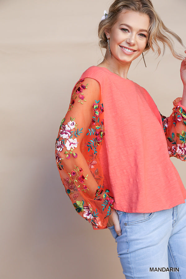 Mandarin | Floral Embroidered Sheer Puff Sleeve Top