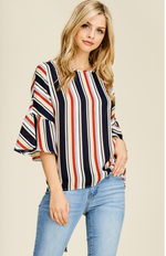 Back Knot Ruffle Sleeves Striped Top