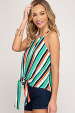 Multi Colored | Striped Woven Cami Top with Front Tie