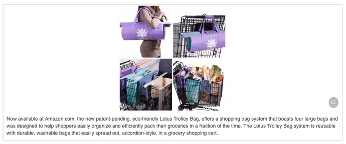 Introducing a Unique, Versatile Eco-Friendly Shopping Bag System -- Lotus Trolley Bag -- Now Available at Amazon.Com