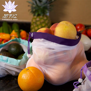 Lotus Produce Bags - set of 9 with 3 different sizes - The reusable shopping bags solution