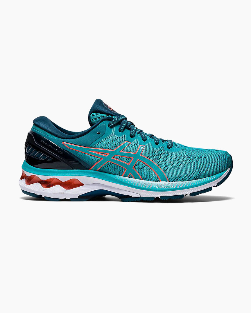Womens Asics Gel-Kayano 27  Techno Cyan/Sunrise Red