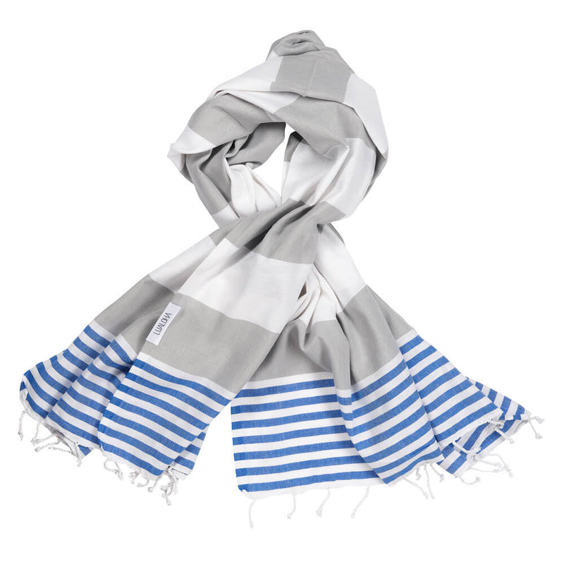 Striped Goodness Light Grey & Azure