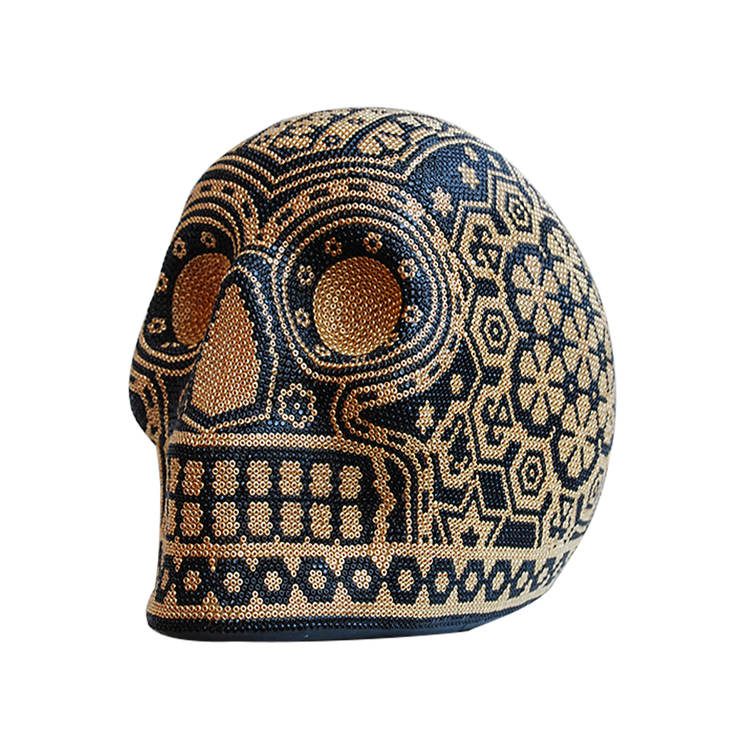 Calavera Huichol Beaded Skulls Gold