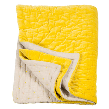 Niki Jones Velvet Linen Throw Chartreuse