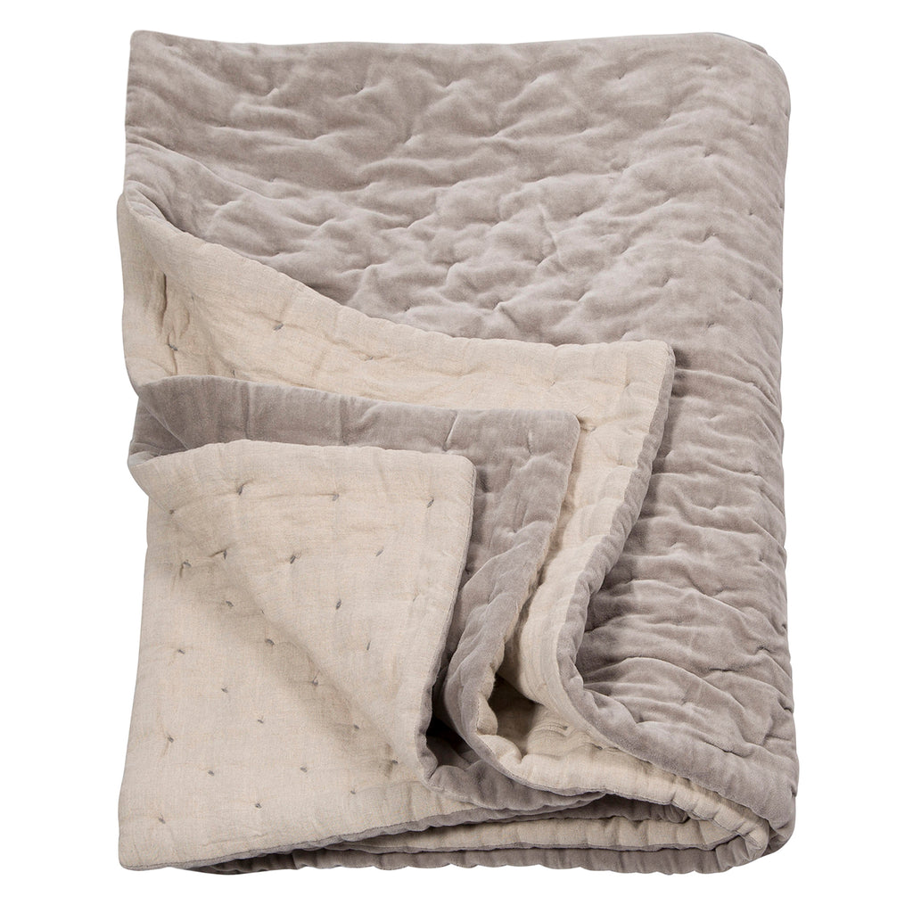 Niki Jones Velvet Linen Throw Oyster