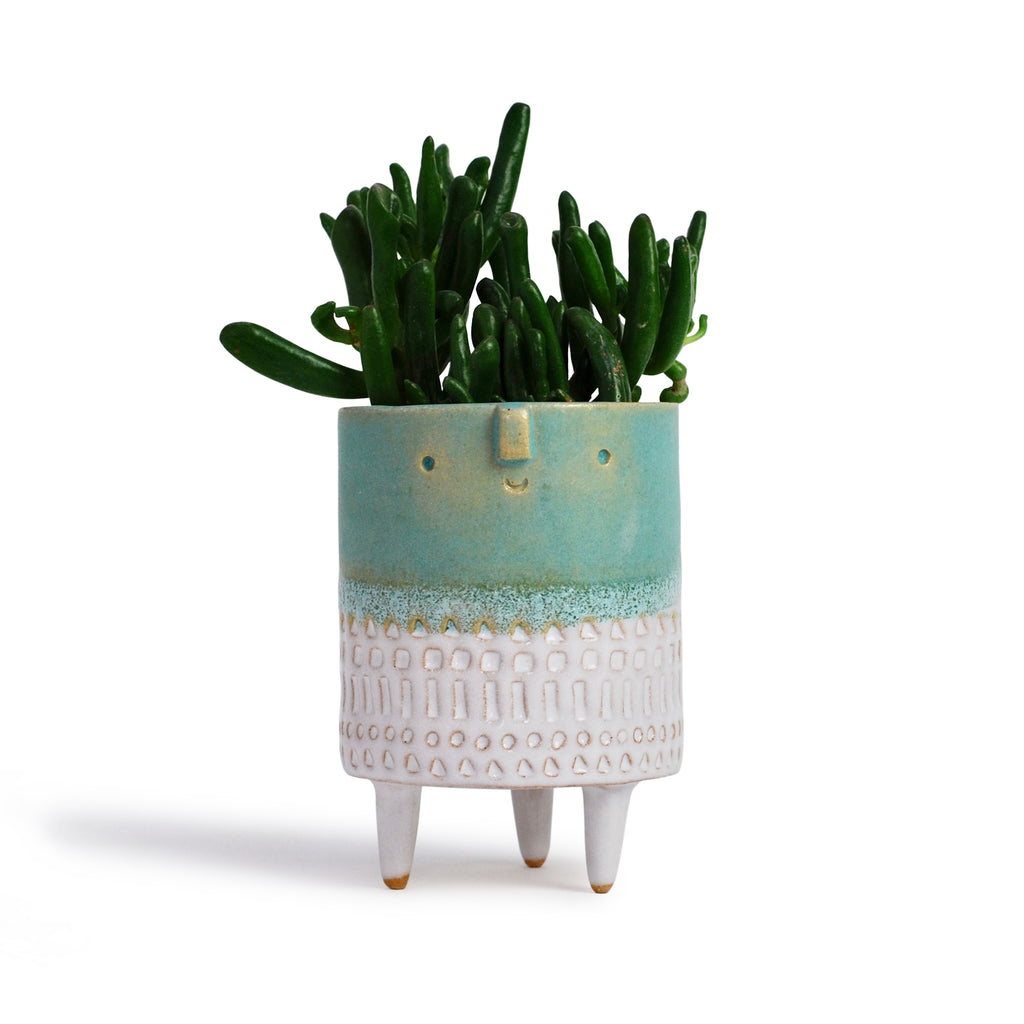 Atelier Stella Small Tripod Pot Turquoise and White