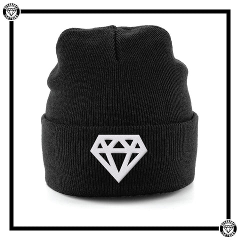 White Diamond Cuffed Beanie-Hats-Reverence Clothing-Black-Reverence Clothing