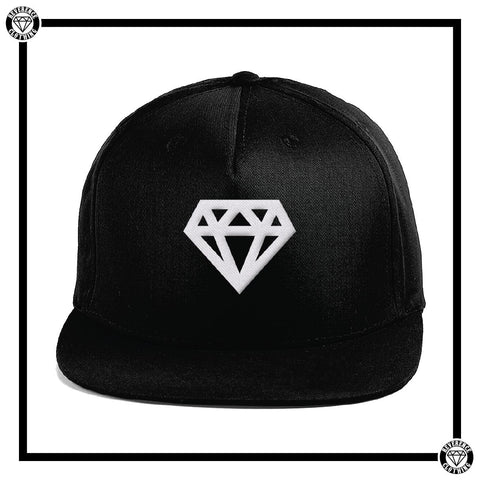 White Diamond Snap-back Peak Cap-Hats-Reverence Clothing-Black-Yes-Reverence Clothing