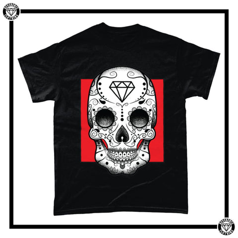Day of the Dead Men's T-Shirt-T-Shirt-Reverence Clothing-Black/Red-Small-Reverence Clothing
