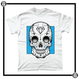 Day of the Dead Men's T-Shirt-T-Shirt-Reverence Clothing-White/Blue-Small-Reverence Clothing