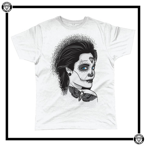 Death Adorns Her Men's T-Shirt-T-Shirt-Reverence Clothing-White-Small-Reverence Clothing
