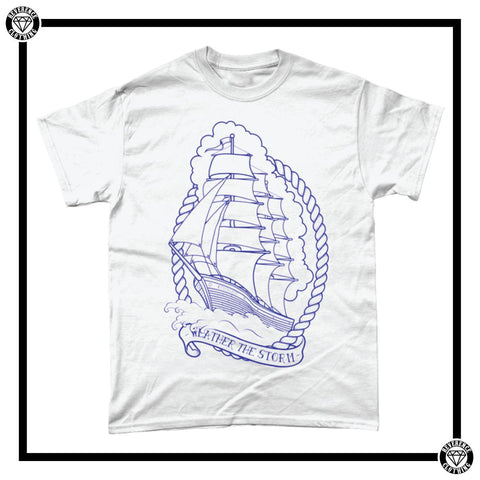 Weather The Storm Tee Men's T-Shirt-T-Shirt-Reverence Clothing-White/Blue-Small-Reverence Clothing