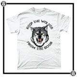 Keep The Wolves From The Door Men's T-Shirt-T-Shirt-Reverence Clothing-White-Small-Reverence Clothing