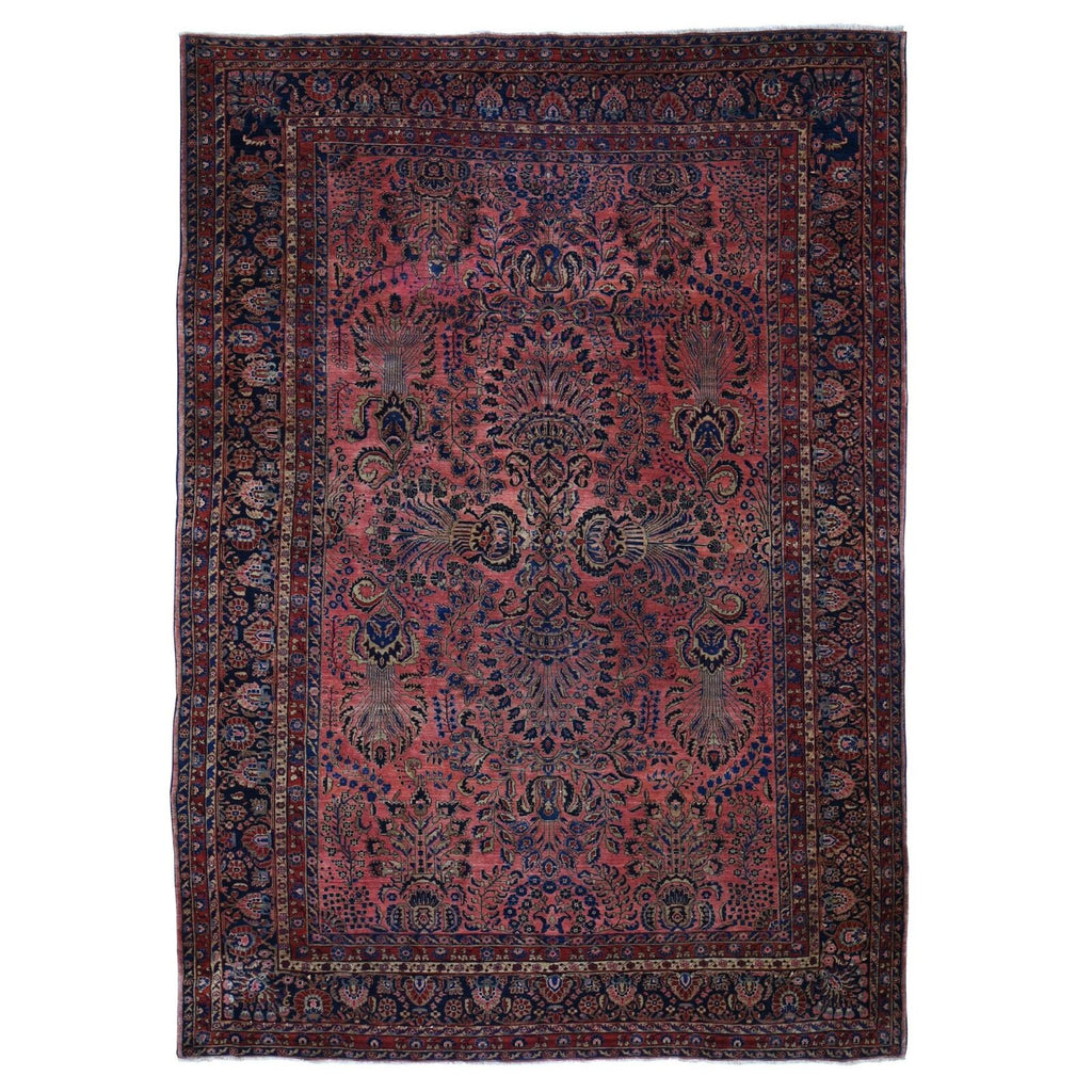 SOLD | Antique Persian Rug Blush/Coral & Indigo in Arabesque Vine Design  C. 1920-30's | ~ 8.11 x 13.4