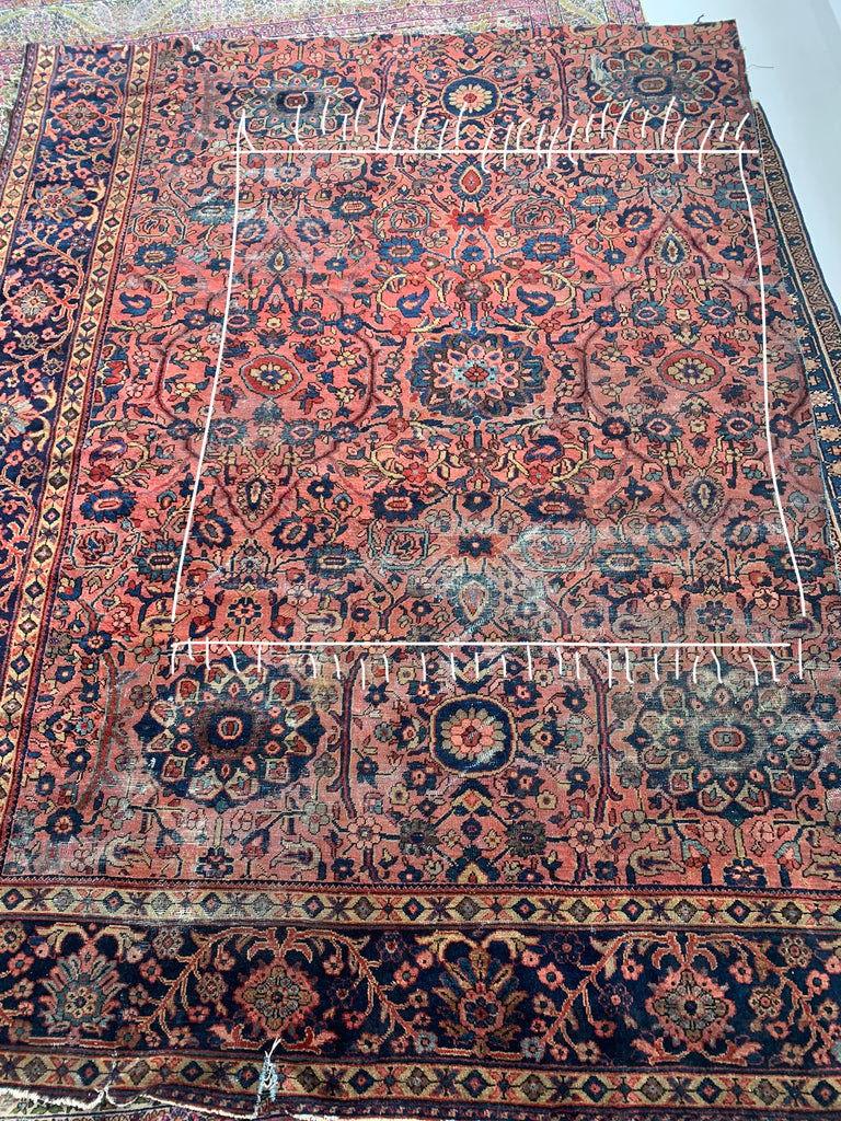 SOLD | Antique Persian Pink & Blue CUSTOMIZED to ~ 5.10 x 5.10 Square Piece