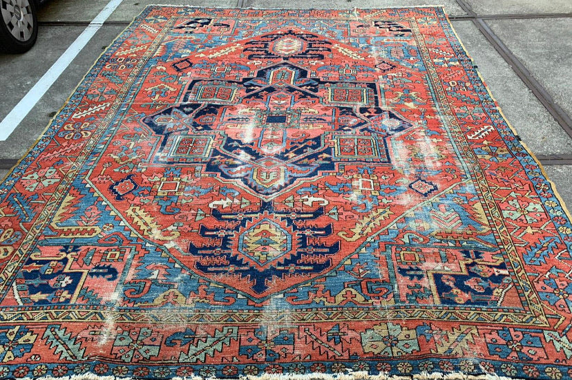 SOLD | Antique Northwest Persian Tribal Rug C. 1915 | Medallion with French Blue Corners | ~ 8.10 x 11.9