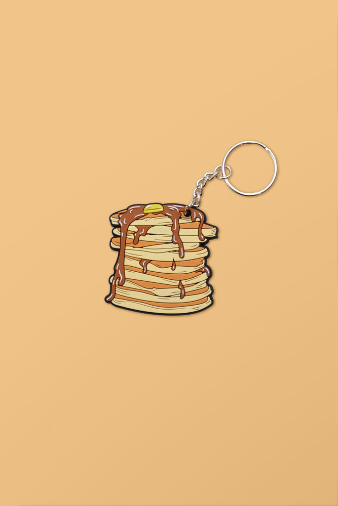 Stacking' Pancakes Rubber Keychain