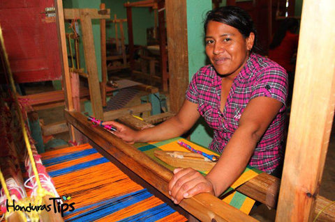 Happy Lenca Woman Weaving
