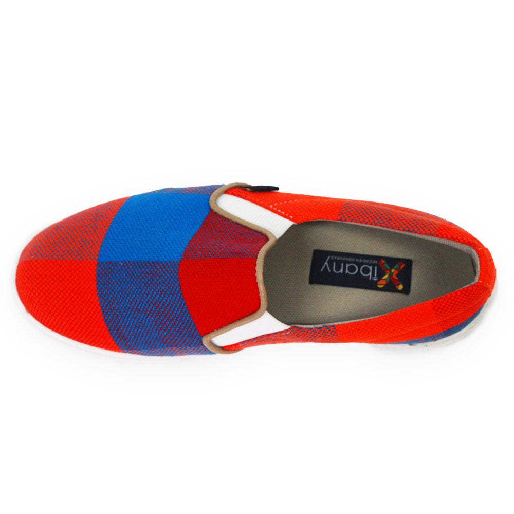 Xibany Original Canvas Slip-On Sneaker, Mens: Red|Blue