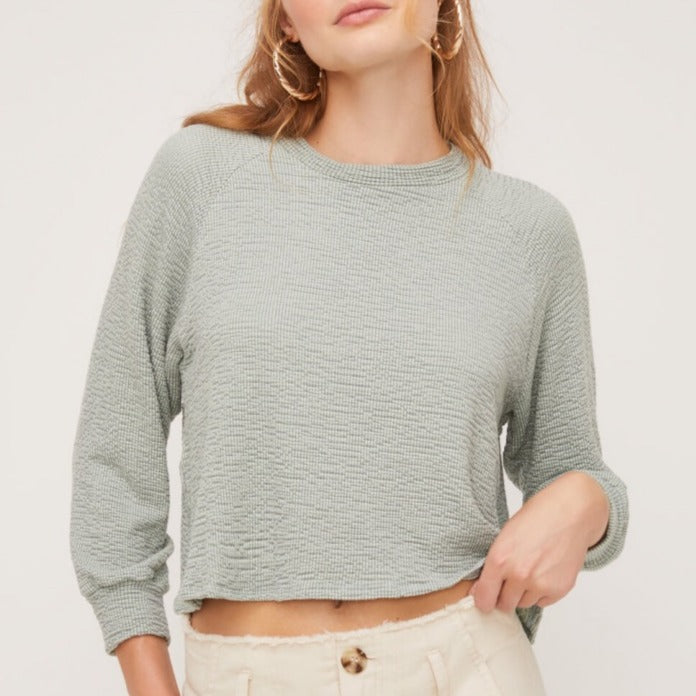 Cozy Boxy Teal Top