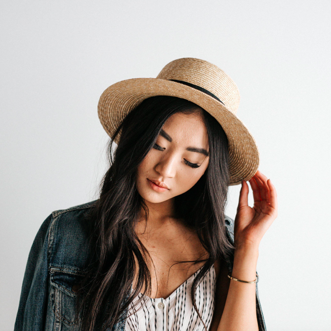 Faye Straw Boater Hat