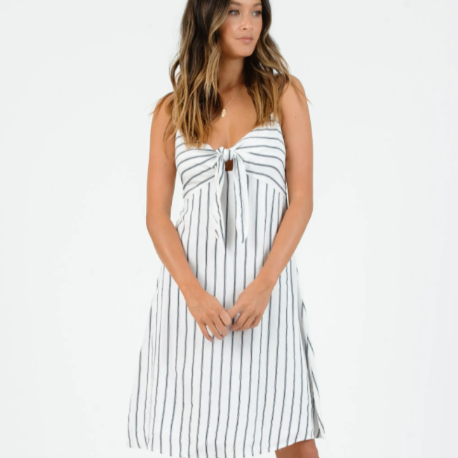 Ocean Stripes Tie Front Mini