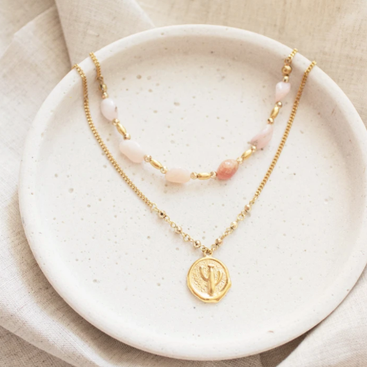Saguaro Necklace Set - Gold