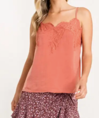 Abstract Lace Cami - Cinnamon