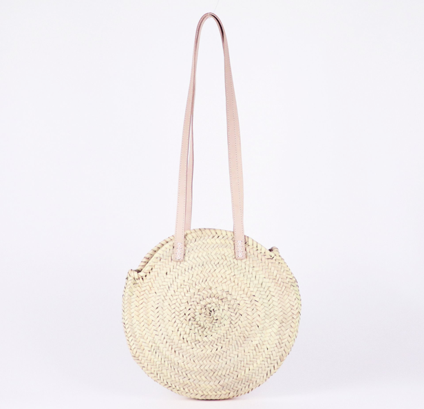 Tulum Round Straw Bag - Small - Natural/Taupe