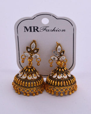 Traditional golden  Indian women's Jhumki