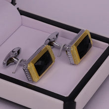 Load image into Gallery viewer, Black stone men cufflinks golden men cufflinks silver men cufflinks