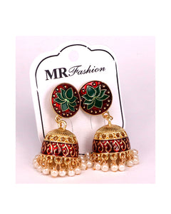 Tradition women jhumki earrings golden and maroon