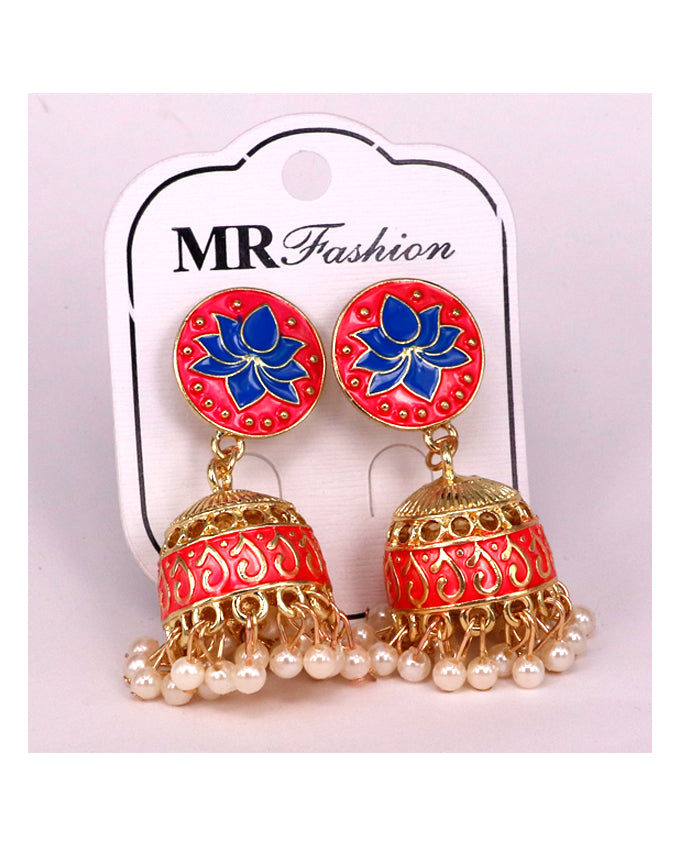 Tradition women jhumki earrings golden and Pink