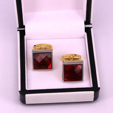 Load image into Gallery viewer, Red crystal men cufflinks golden