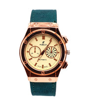 Load image into Gallery viewer, Green strap with light golden stylish dial men's watch