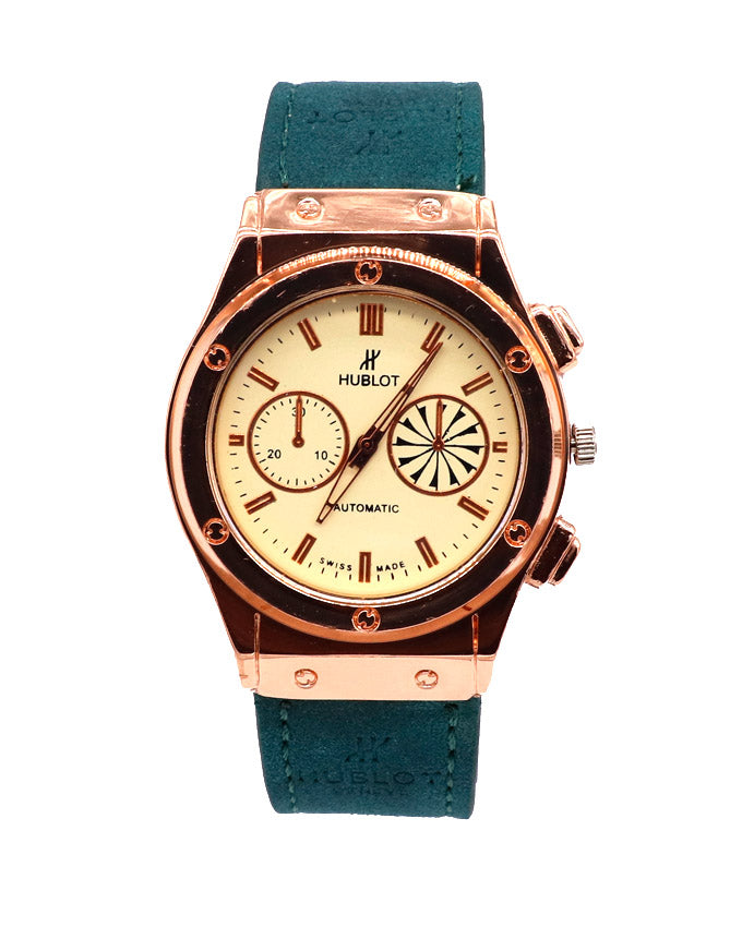 Green strap with light golden stylish dial men's watch