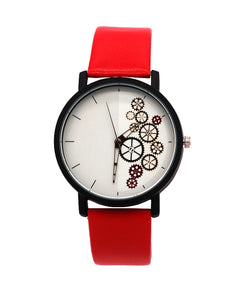 Red Strap with white dial stylish watch men women