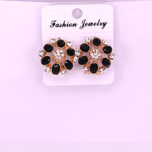 Black and white crystal stones women earring tops