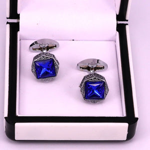 Premium quality engraved Blue crystal and silver men cuff links
