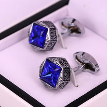 Load image into Gallery viewer, Premium quality engraved Blue crystal and silver men cuff links