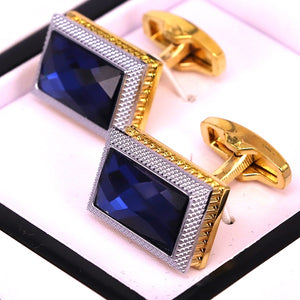 Blue Crystal stone golden men cufflinks