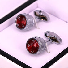 Load image into Gallery viewer, Red round men cufflinks stainless steel