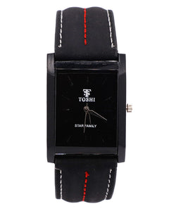 Black strap and dial stylish Men's and women's  watch