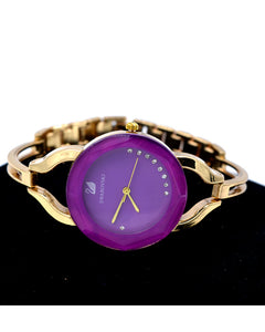 Purple dial round dial women stylish watch