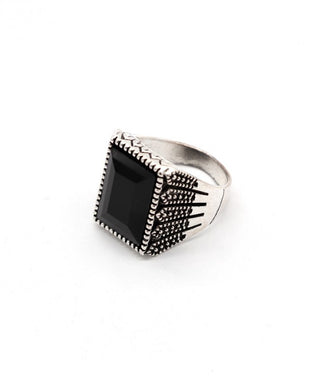 Black stone silver color men's ring
